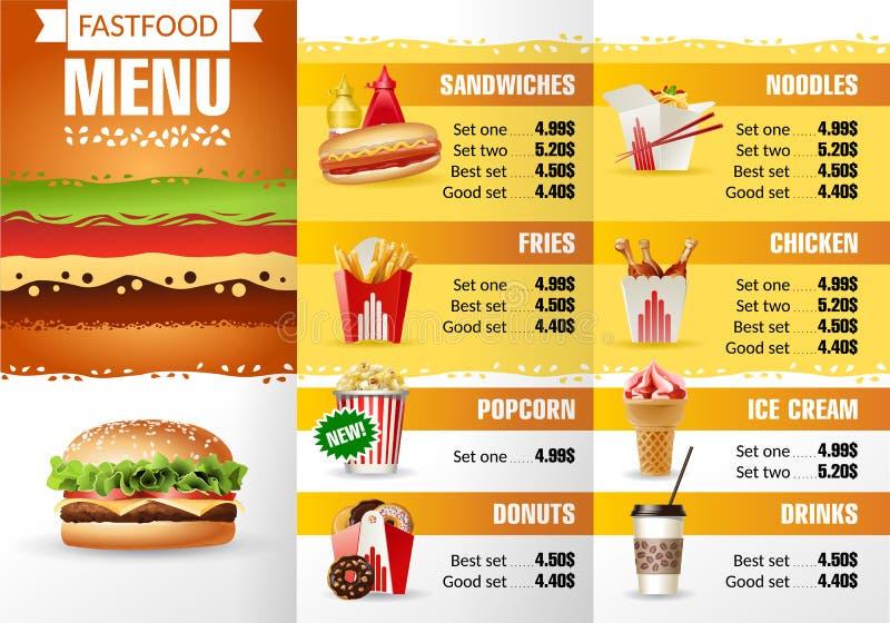 Restaurante do fast food do menu do projeto da ilustração do vetor ilustração royalty free