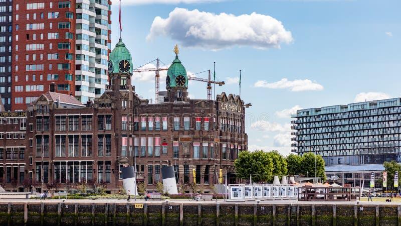 Restaurante do hotel de Holland New York no rio Mosa perto do porto Rotterdam, Pa?ses Baixos fotografia de stock