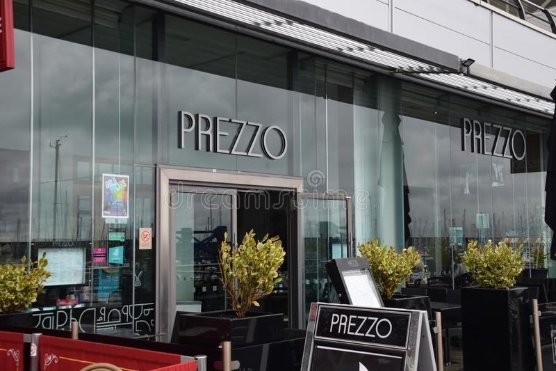 Restaurante do italiano de Prezzo fotografia de stock royalty free