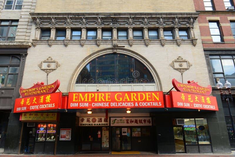 Restaurante do jardim do império no bairro chinês histórico, Boston imagem de stock