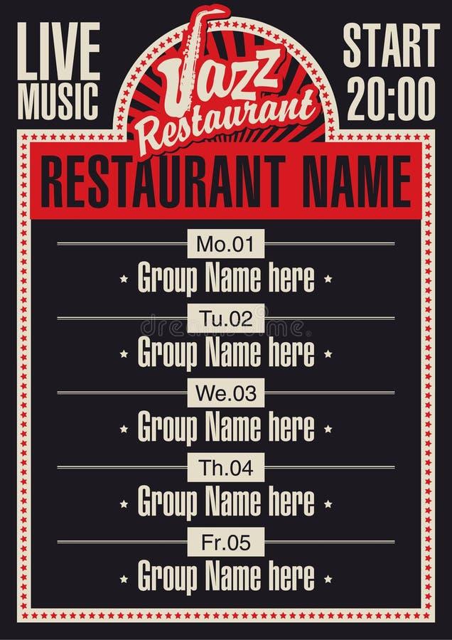 Restaurante do jazz ilustração do vetor