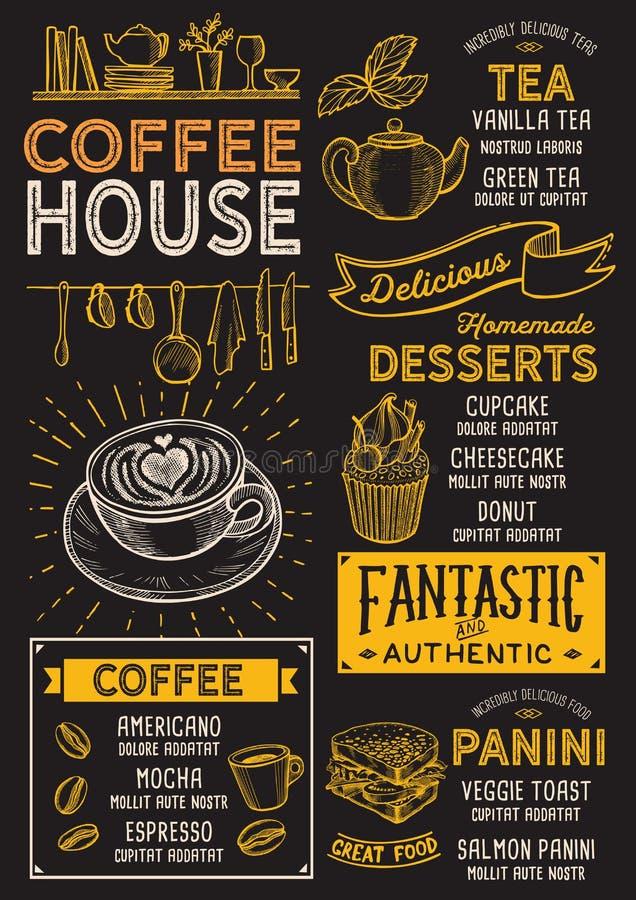 Restaurante do menu do café, molde da bebida ilustração royalty free