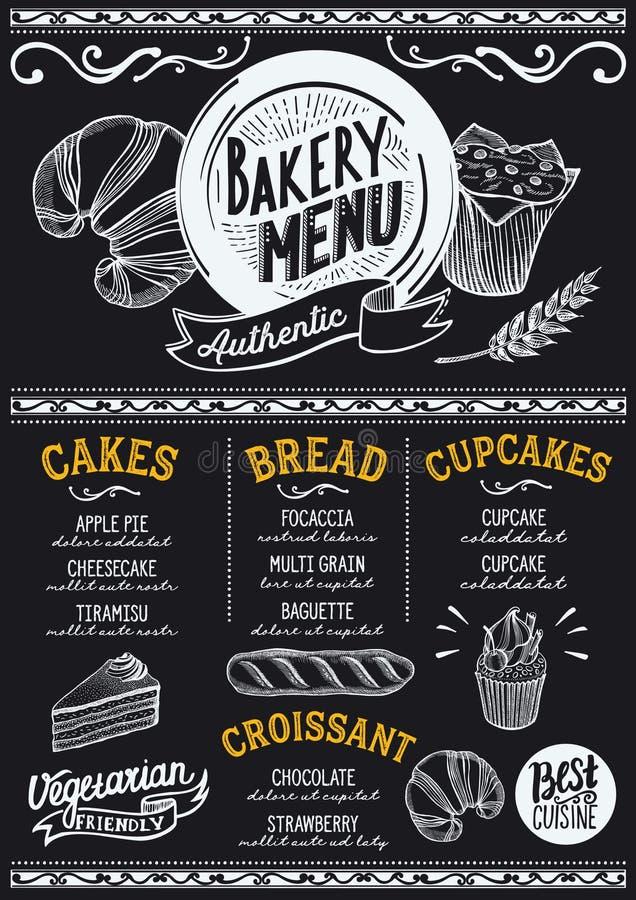 Restaurante do menu da padaria, molde do alimento ilustração do vetor