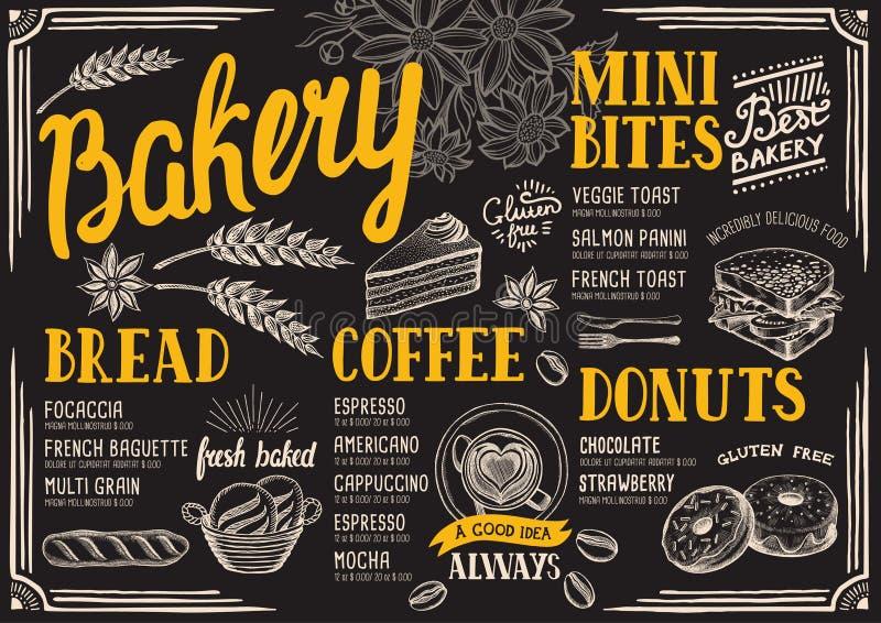Restaurante do menu da padaria, molde do alimento ilustração stock