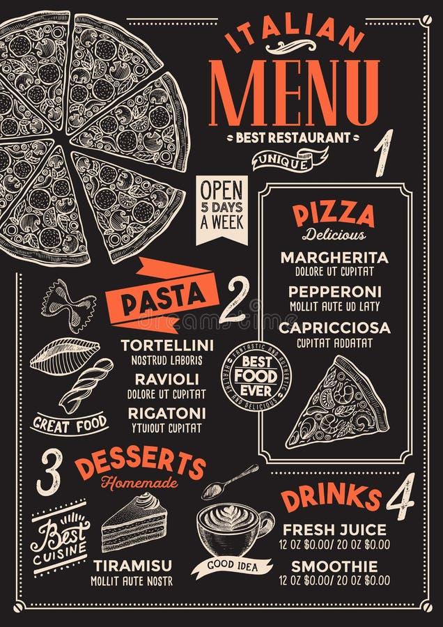 Restaurante do menu da pizza, molde do alimento ilustração do vetor