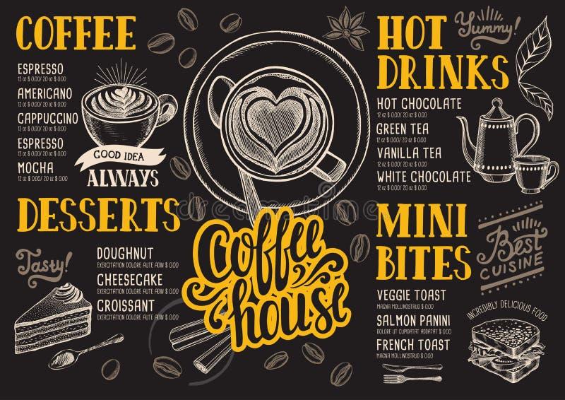 Restaurante do menu do café, molde do alimento ilustração royalty free