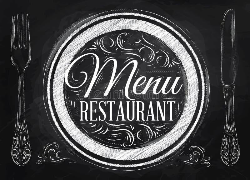 Restaurante do menu do cartaz. Giz. ilustração do vetor