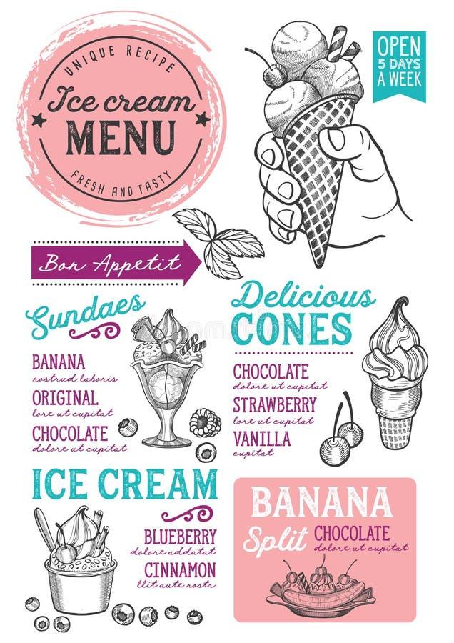 Restaurante do menu do gelado, molde do alimento da sobremesa ilustração do vetor