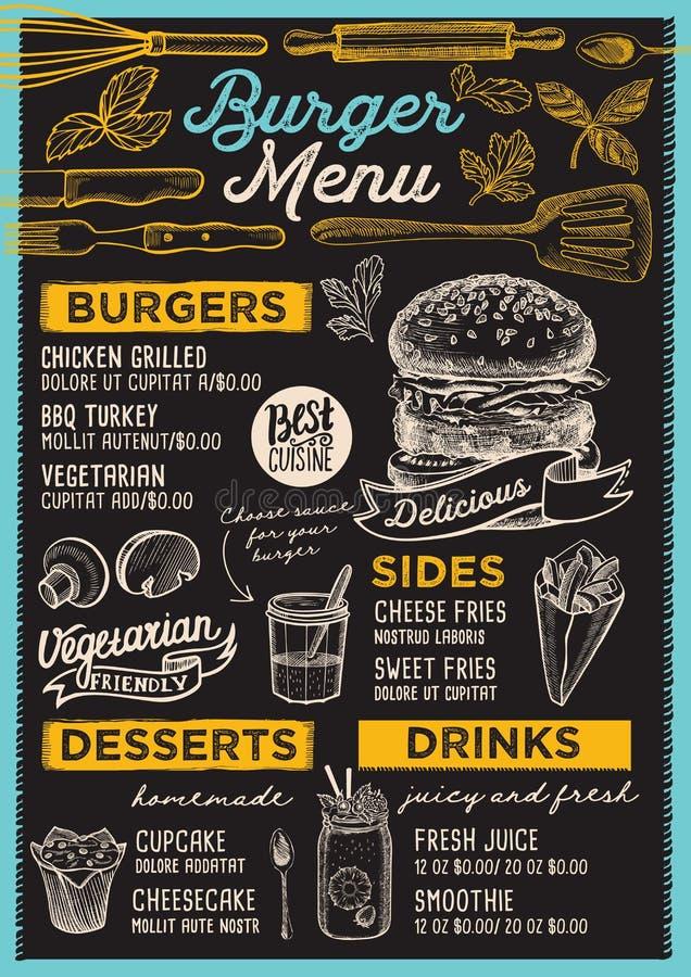 Restaurante do menu do hamburguer, molde do alimento ilustração do vetor