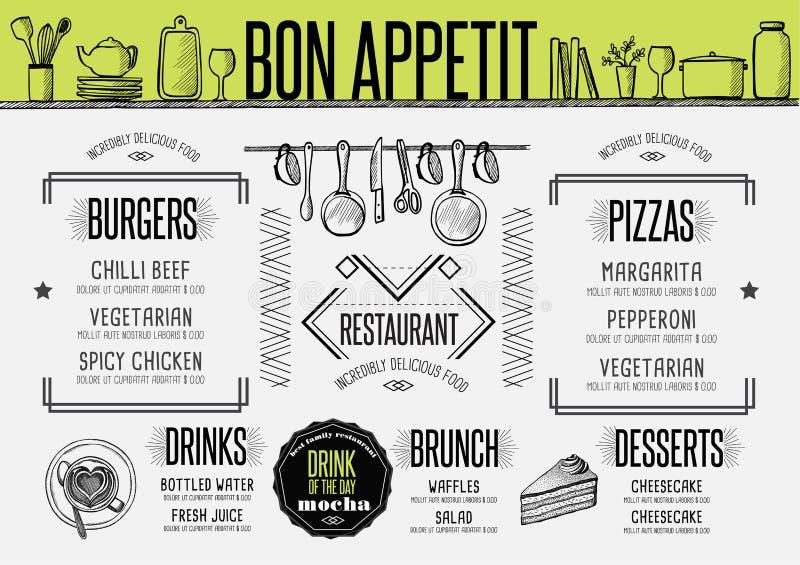 Restaurante do menu, placemat do molde do alimento ilustração royalty free