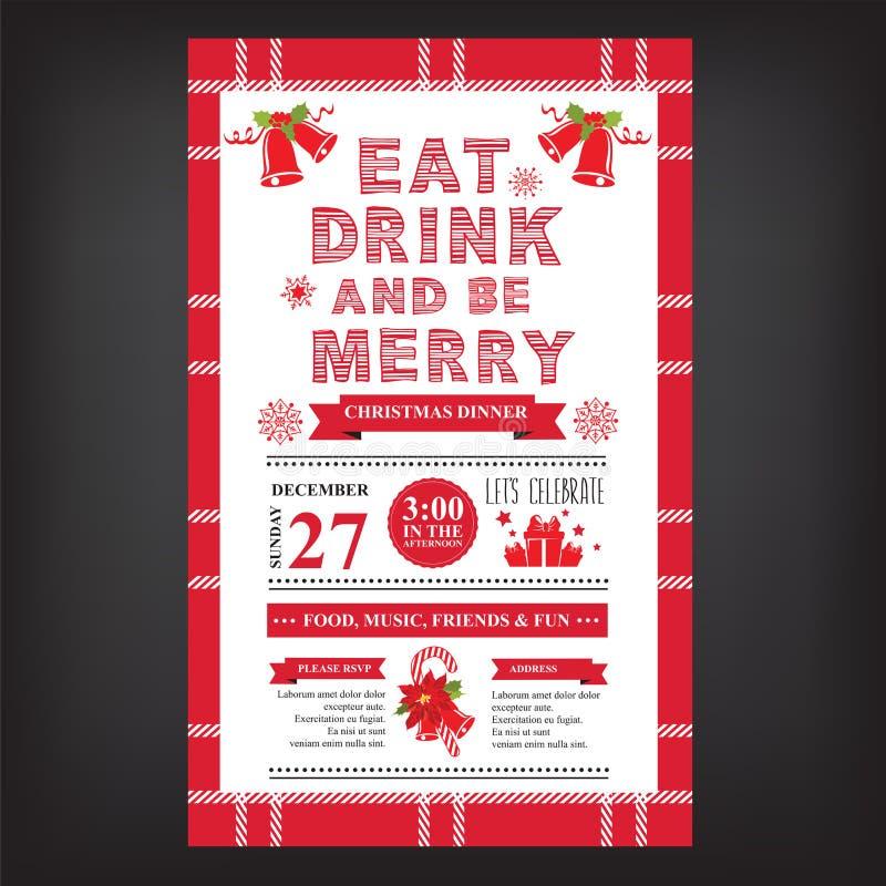 Restaurante do Natal e menu do partido, convite ilustração royalty free