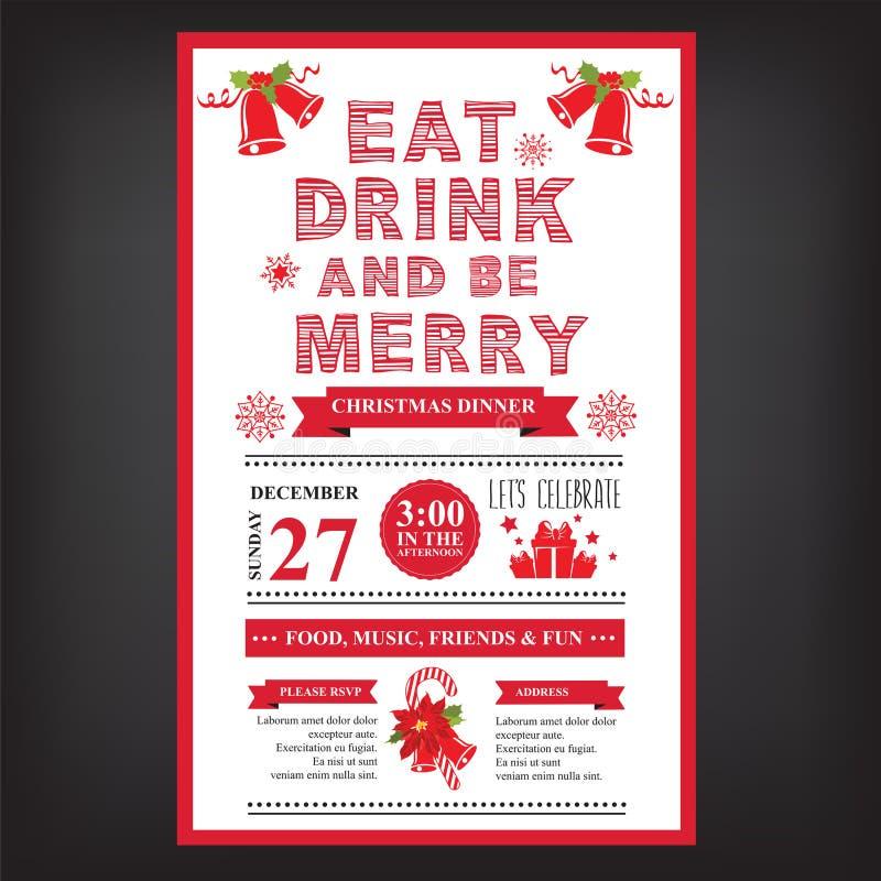 Restaurante do Natal e menu do partido, convite ilustração stock