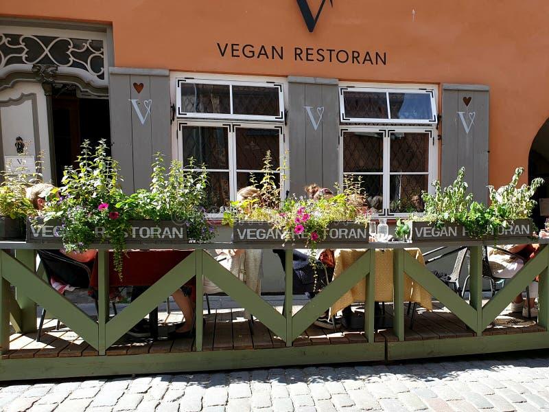Restaurante do vegetariano em Tallinn, Estônia Restaurantes na moda que servem o alimento do vegetariano fotografia de stock royalty free