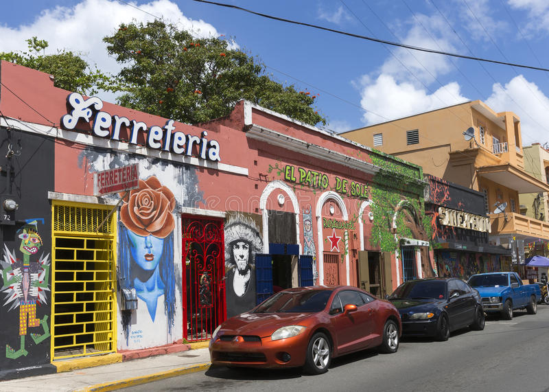 Restaurante e barras em Calle Elisa Colberg imagens de stock royalty free