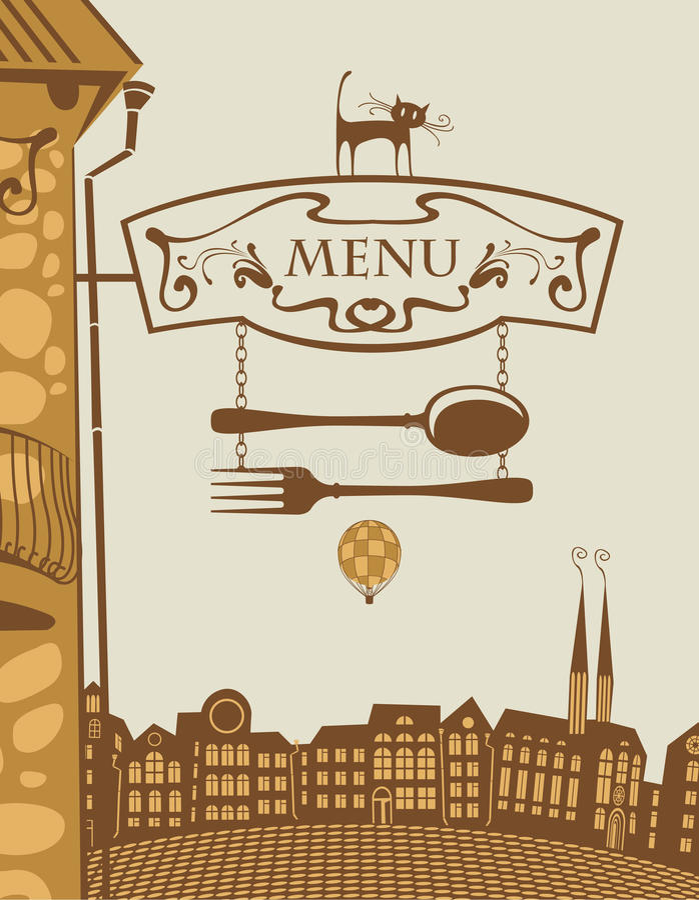 Restaurante e gato ilustração royalty free