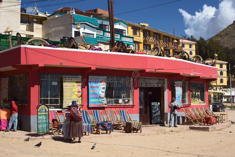 Restaurante em Copacabana, Bolívia fotografia de stock royalty free