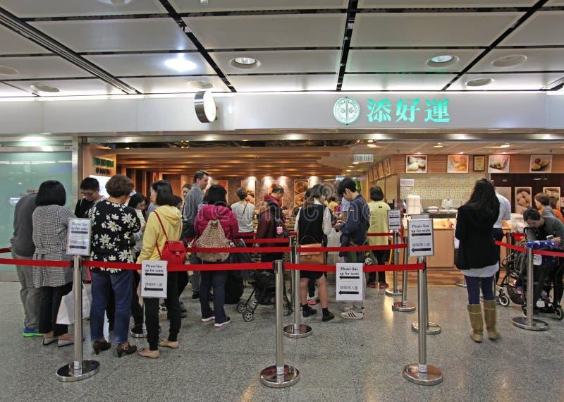 Restaurante em Hong Kong, o restaurante o mais barato de Tim Ho Wan do michelin no mundo fotografia de stock