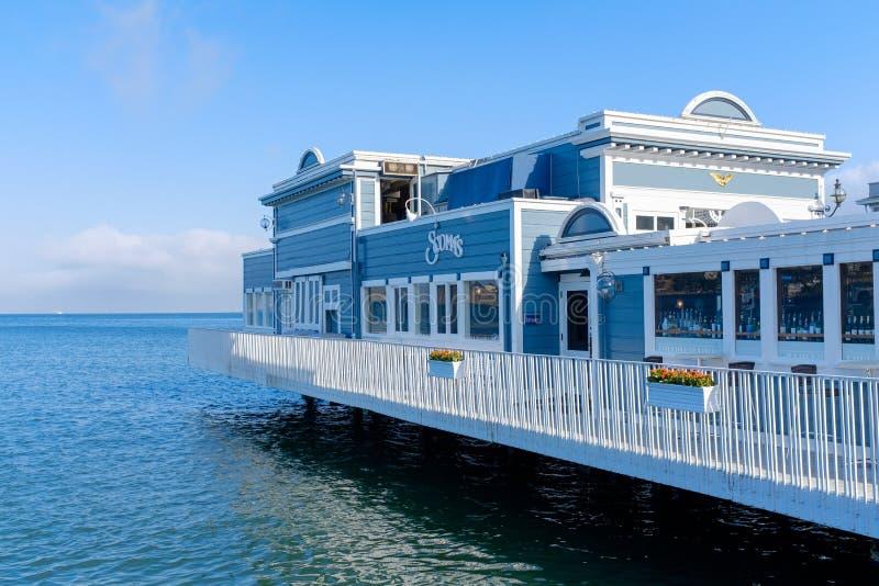 Restaurante em um cais em Monterey fotografia de stock royalty free