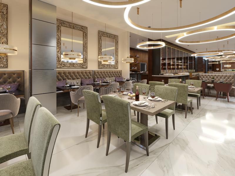 Restaurante em um estilo moderno com assoalho de mármore Há cadeiras dos sofás com tabelas, colunas inoxidáveis decorativas No te ilustração stock