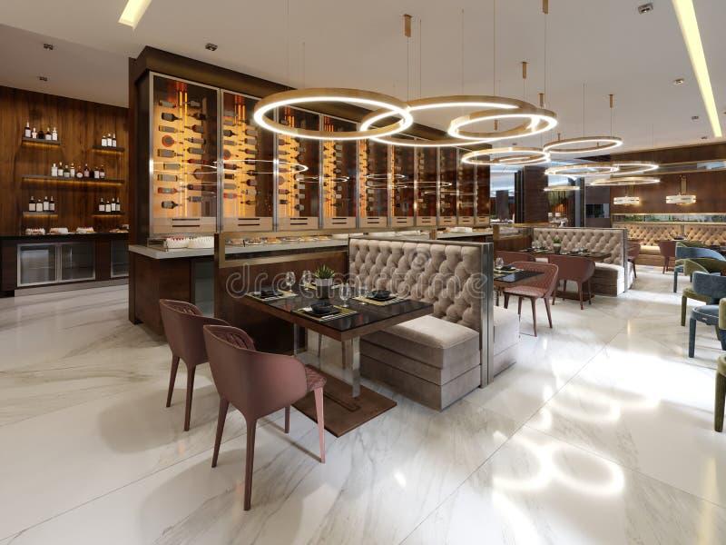 Restaurante em um estilo moderno com assoalho de mármore Há cadeiras dos sofás com tabelas, colunas inoxidáveis decorativas No te ilustração royalty free