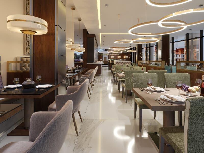 Restaurante em um estilo moderno com assoalho de mármore Há cadeiras dos sofás com tabelas, colunas inoxidáveis decorativas No te ilustração do vetor