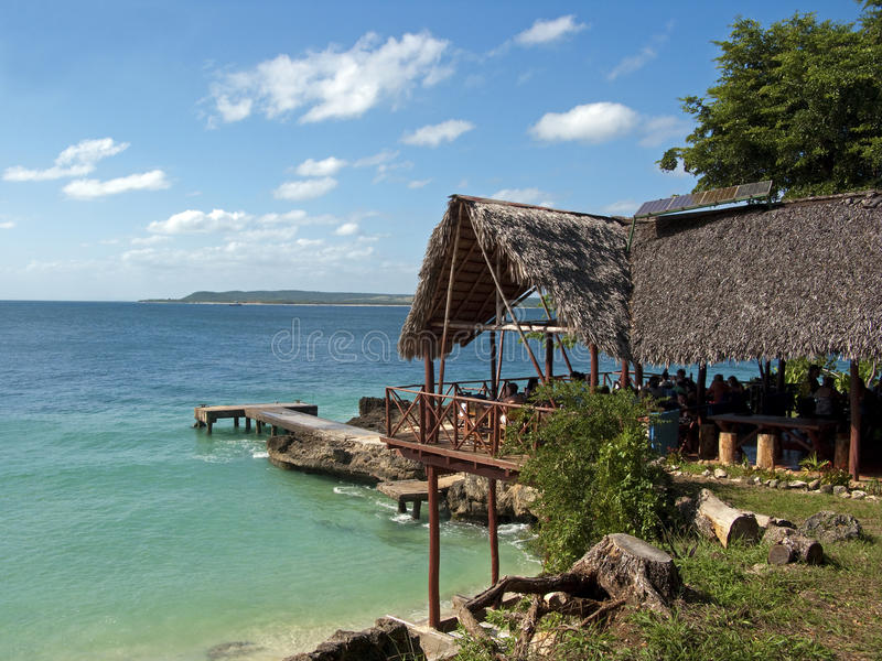 Restaurante en la isla del paraíso imagen de archivo