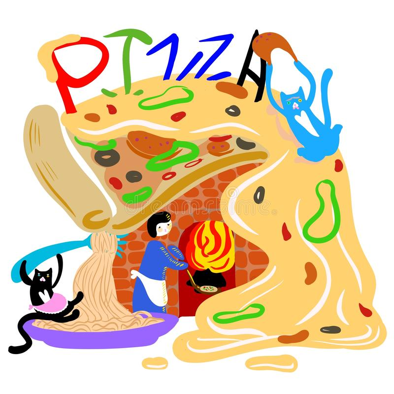 Restaurante engraçado da pizza com dois gatos e um pessoal ilustração stock