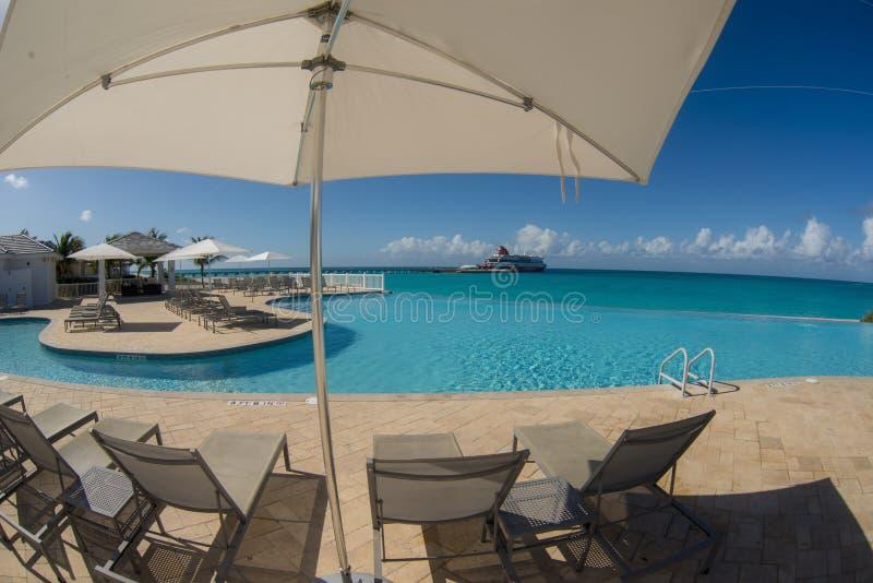 Restaurante exterior en Bimini Bahamas foto de archivo