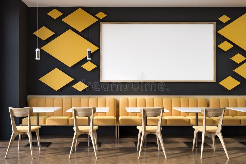 Restaurante interior, estilo moderno Zombaria acima do cartaz ilustração royalty free