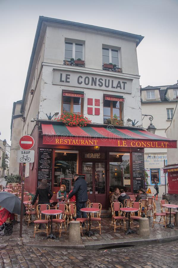 Restaurante Le Consulat, Montmartre, Paris foto de stock royalty free