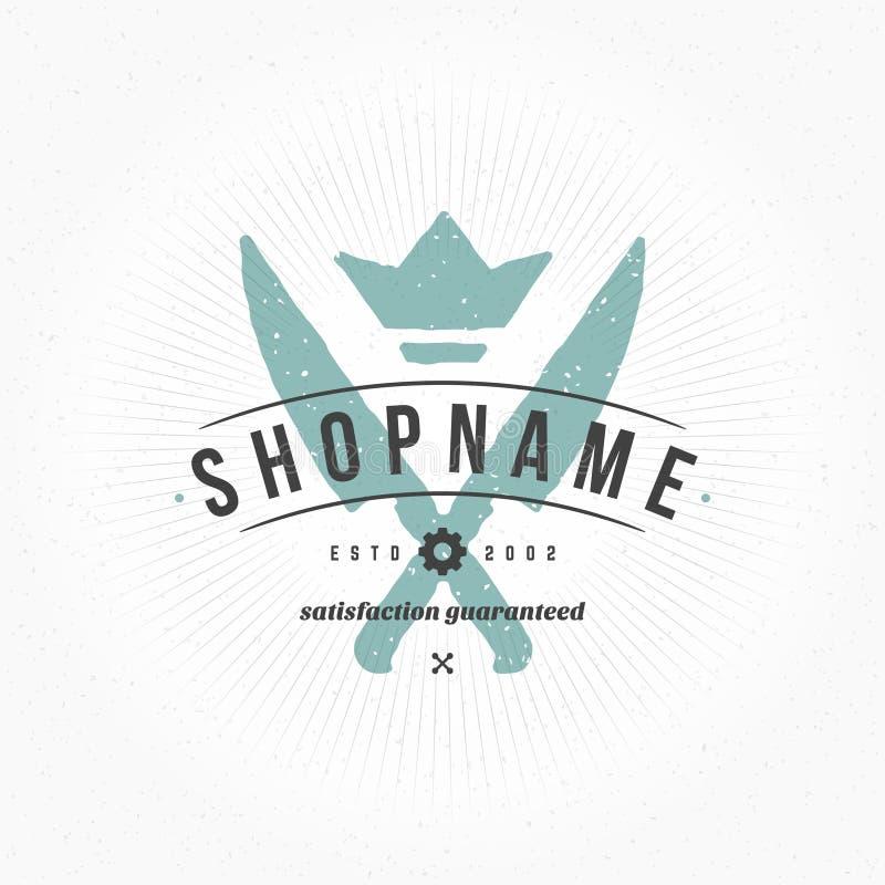 Restaurante Logo Hand Drawn Template Estilo do vintage do elemento do projeto do vetor para o Logotype ilustração stock