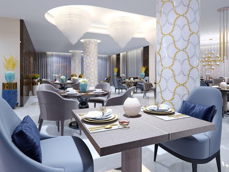 Restaurante lujoso del hotel en estilo moderno con muebles coloridos stock de ilustración