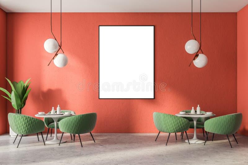 Restaurante luxuoso da cadeira verde, cartaz vertical ilustração stock