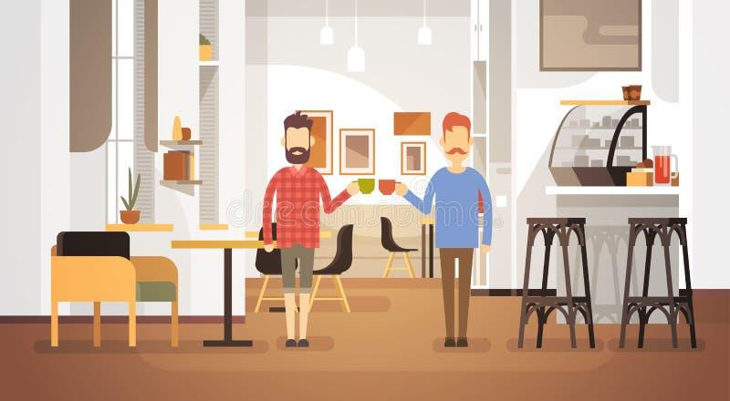 Restaurante moderno do interior do café do café da bebida de dois homens ilustração do vetor