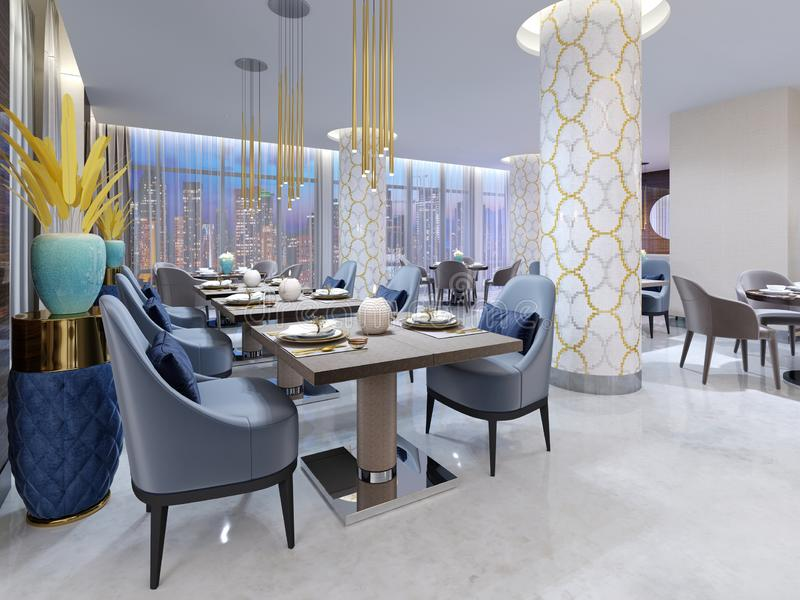 Restaurante moderno lujoso en la iluminación de igualación con las sillas azules y beige y las tablas presentadas Columnas blanca ilustración del vector