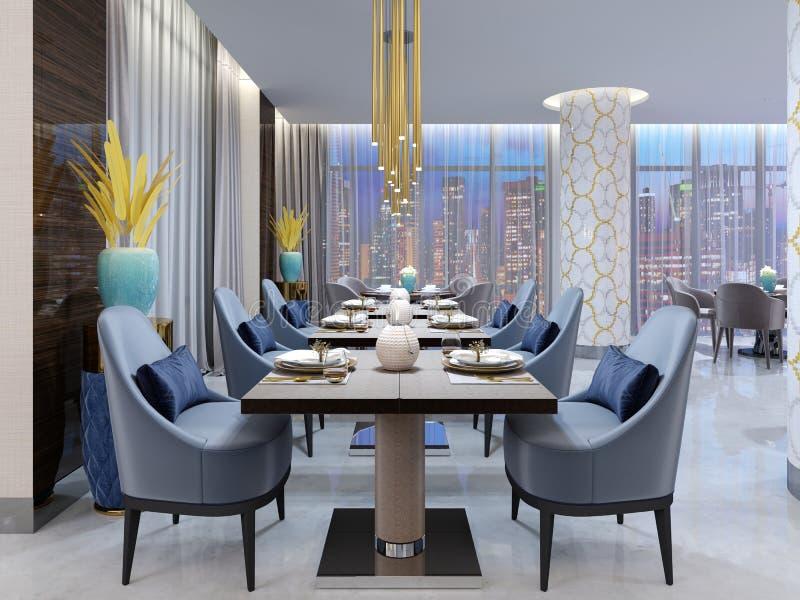 Restaurante moderno luxuoso na iluminação de nivelamento com as cadeiras azuis e bege e as tabelas apresentadas Colunas brancas e ilustração do vetor