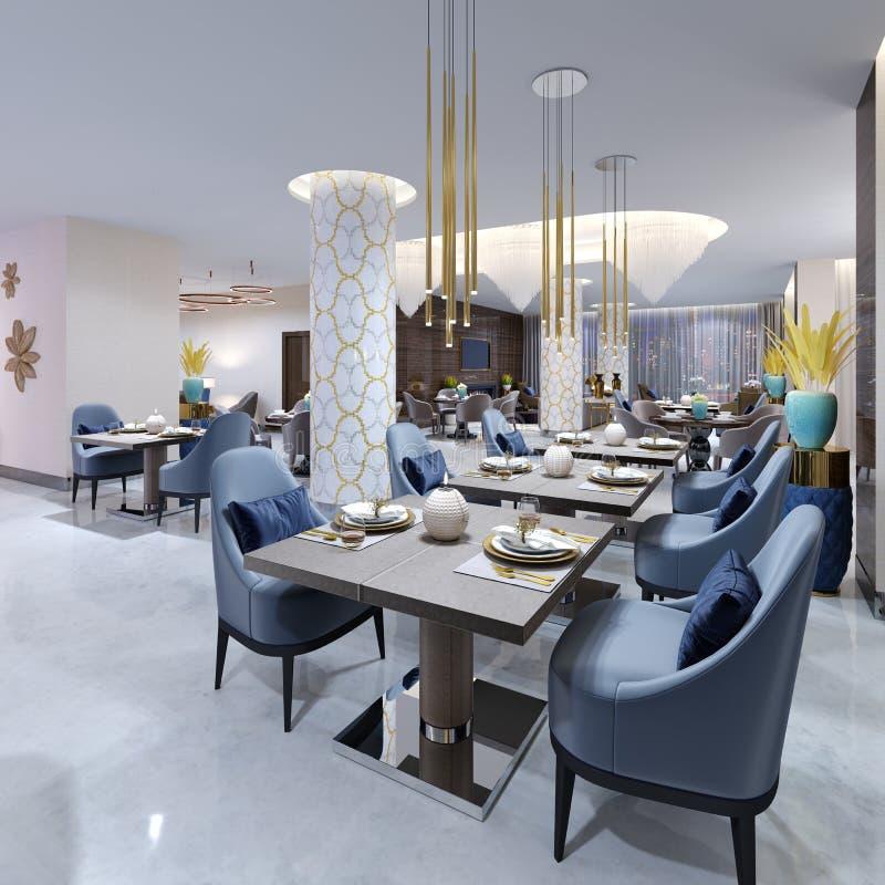 Restaurante moderno luxuoso na iluminação de nivelamento com as cadeiras azuis e bege e as tabelas apresentadas Colunas brancas e ilustração royalty free