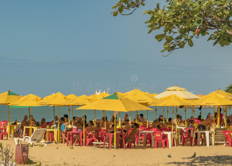 Restaurante na praia Fortaleza Brasil fotografia de stock