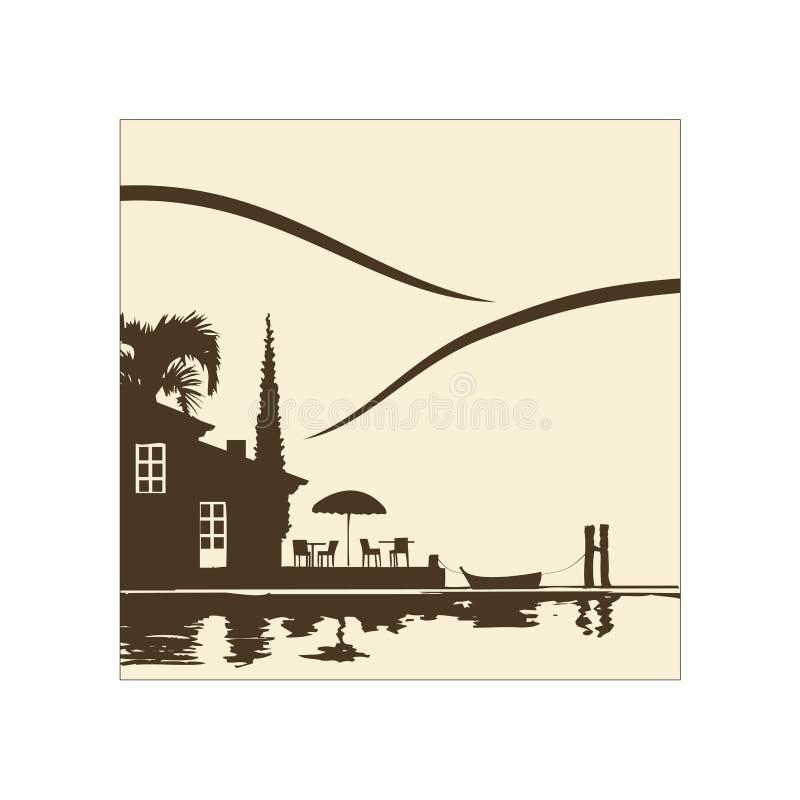 Restaurante no lago ilustração royalty free