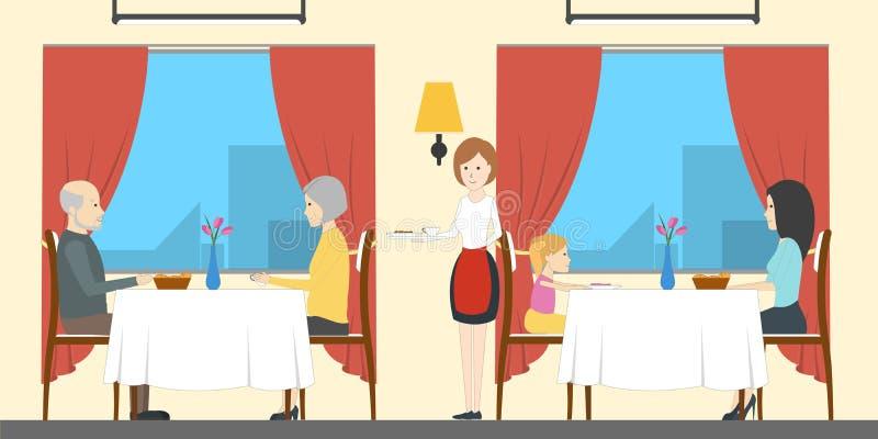 Restaurante no trem ilustração royalty free