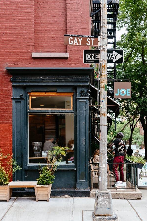 Restaurante pintoresco en el Greenwich Village, Nueva York fotografía de archivo libre de regalías