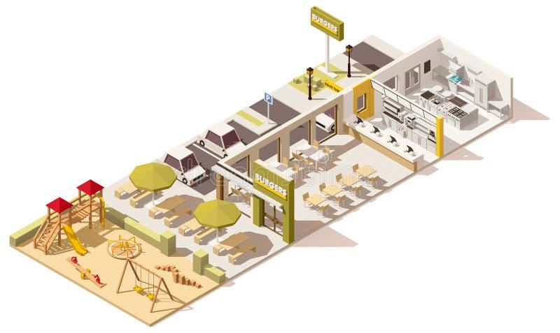 Restaurante poli isométrico do fast food do vetor baixo ilustração stock