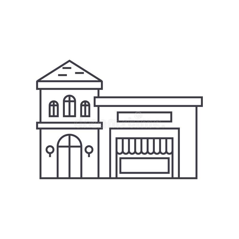 Restaurante que construye la línea fina concepto del icono Restaurante que construye la muestra linear del vector, símbolo, ejemp ilustración del vector