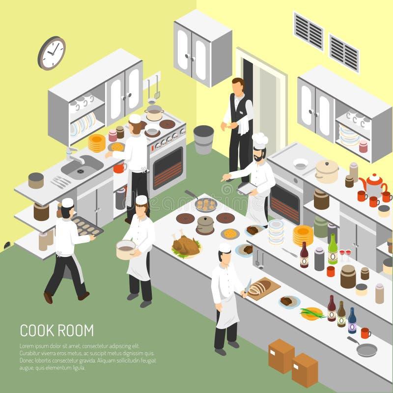 Restaurante que cozinha o cartaz isométrico da sala ilustração royalty free
