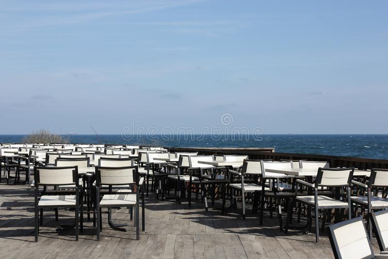 Restaurante vazio do ar livre fotografia de stock