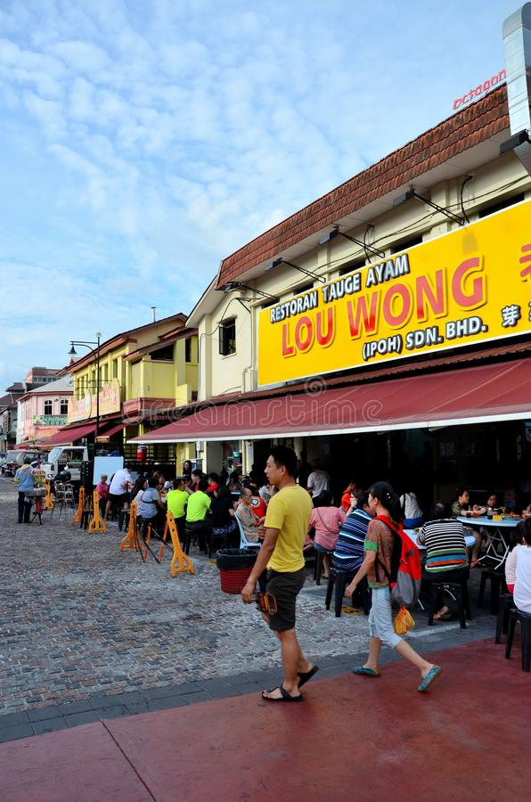 Restaurantes chinos famosos y área comercial Jalan Yau Tet Shin Ipoh Malaysia de la calle de la comida foto de archivo libre de regalías