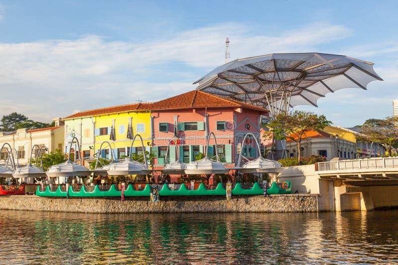Restaurantes em Clarke Quay foto de stock royalty free