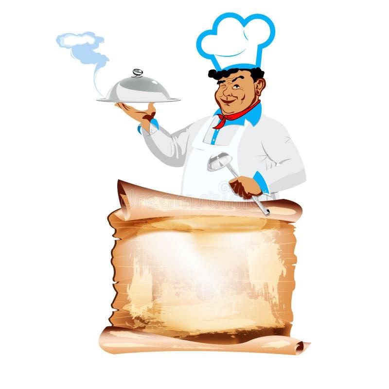 Restaurantes felizes engraçados do cozinheiro chefe e do menu ilustração stock