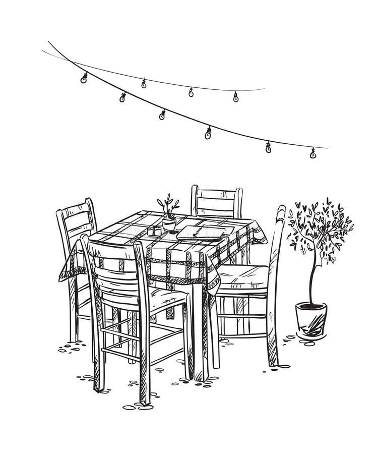 Restaurantes italianos Café Cosy Tabela e cadeiras ilustração do vetor