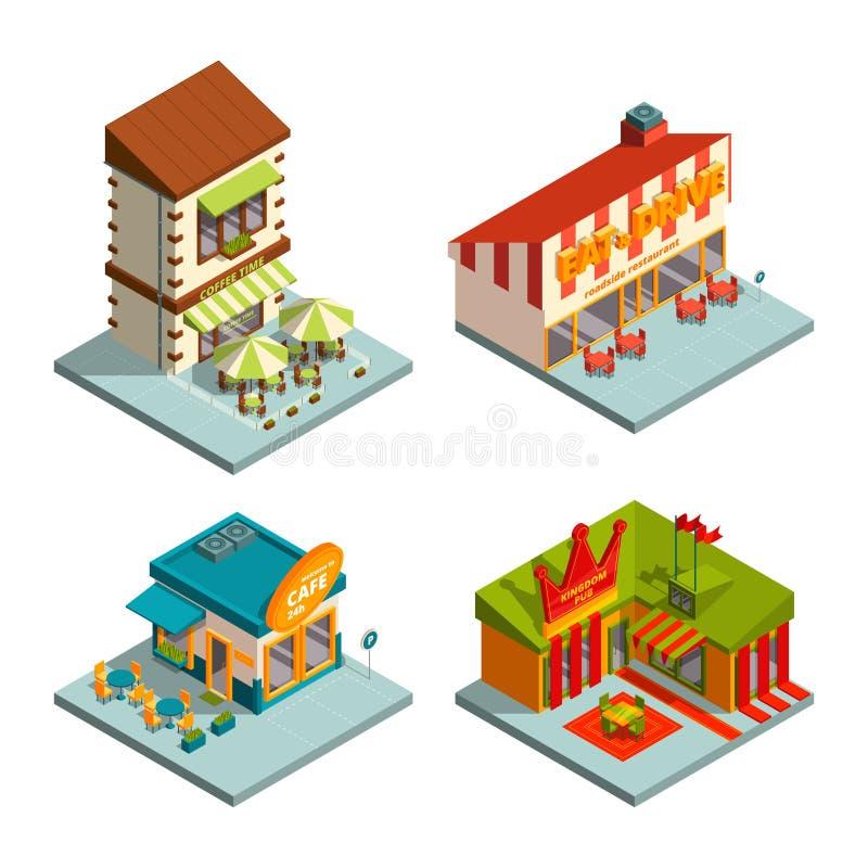 Restaurantes y cafés Edificios isométricos stock de ilustración
